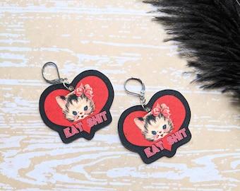 Eat Shit Kitten Cat Earrings Valentine's Day Snarky Sassy Sarcastic Gift Durable Wearable Art