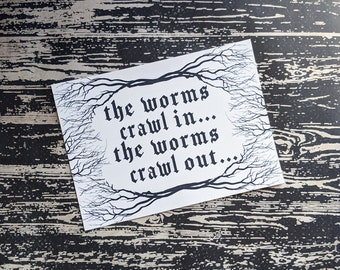 The Worms Crawl In The Worms Crawl Out The Hearse Song Inspired Art Print 5x7 Framed Print Home Wall Decor Goth Halloween Horror Gift