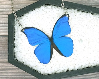 Blue Morpho Butterfly Necklace Statement Necklace Nature Necklace Animal Necklace Bridesmaid Gift Wedding Gift Durable Wearable Art