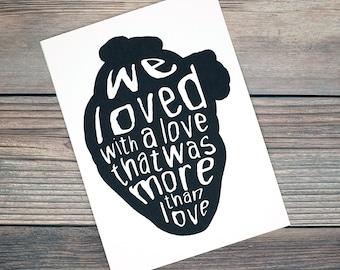 We Loved With A Love Annabel Lee Edgar Allan Poe Art Print 5x7 Framed Print Home Wall Decor Goth Halloween Horror Gift