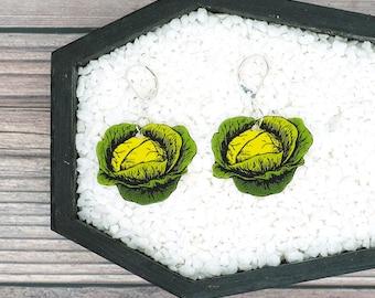 Green Cabbage Earrings Vegetable Garden Farm Food Funny Gag Earrings Funny Gift Durable Wearable Art