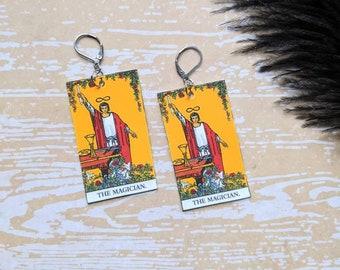 The Magician Tarot Card Earrings Witch Earrings Horror Earrings Creepy Earrings Gothic Earrings Halloween Earrings Wearable Art