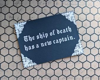The Ship Of Death Has A New Captain Nosferatu Inspired Art Print 5x7 Framed Print Home Wall Decor Goth Halloween Horror Gift