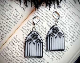 Goth Gothic Church Cathedral Windows Arch Earrings Creepy Halloween Horror Dark Aesthetic Fun Gift