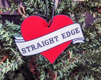 Straight Edge Heart Banner Ornament Goth Gothic Christmas Holiday Horror Creepy Odd Ornament Fun Gift