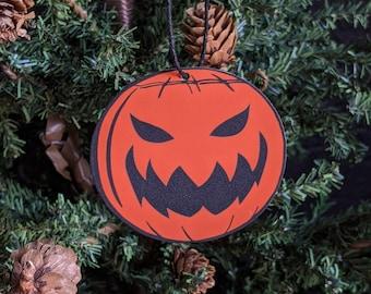 Vintage Evil Mean Jack-O-Lantern Pumpkin Ornament Goth Gothic Christmas Holiday Horror Creepy Odd Ornament Fun Gift