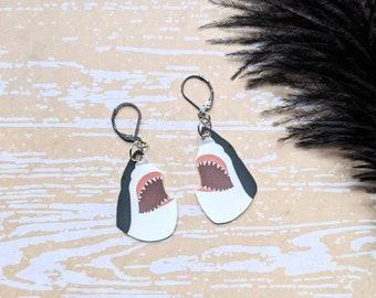 Great White Shark Earrings Ocean Nautical Fish Funny Gift Durable Wearable Art