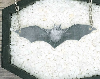 Gray Bat Necklace Halloween Necklace Horror Necklace Spooky Necklace Pendant Jewelry Durable Wearable Art