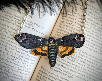 Death Head Hawk Moth Necklace Statement Necklace Nature Necklace Bridesmaid Wedding Gift Offbeat Bride Illustrated Durable Wearable Art