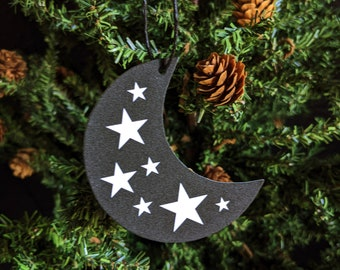 Crescent Moon with Stars Ornament Magic Magick Witch Astrology Goth Gothic Christmas Holiday Horror Creepy Odd Ornament Fun Gift