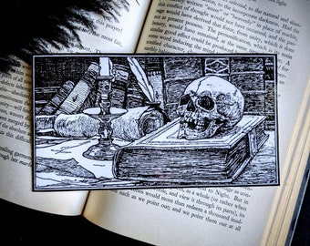 Skull on Books Vintage Illustration Bookmark Goth Gothic Halloween Horror Creepy Oddities