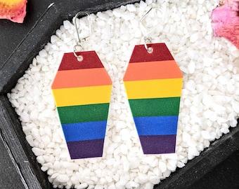 LGBTQIA+ Pride Rainbow Coffin Earrings Gay Queer Goth Gothic Creepy Gift Rainbow Rest In Pride Shrink Plastic