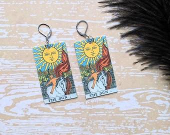 The Sun Tarot Card Earrings Witch Earrings Horror Earrings Creepy Earrings Gothic Earrings Halloween Earrings Wearable Art