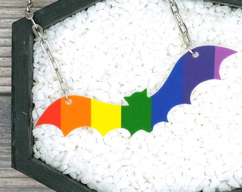 LGBTQ Pride Necklace Rainbow Bat Necklace Gay Pride Necklace Gay Pride Gift Rainbow Gift