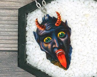 Krampus Necklace Christmas Horror Halloween Goth Spooky Creepy Durable Wearable Art Unique Fun Gift