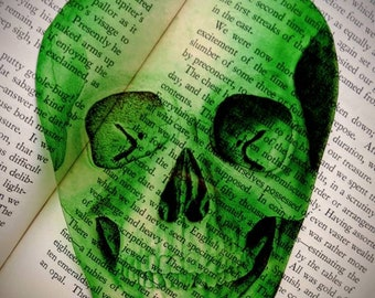 Green Skull Clear Bookmark Skeleton Goth Gothic Halloween Horror Creepy Spooky Anatomy Oddities