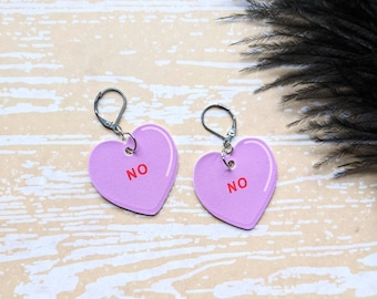 No Candy Conversation Heart Earrings Valentine's Day Snarky Sassy Sarcastic Gift Durable Wearable Art