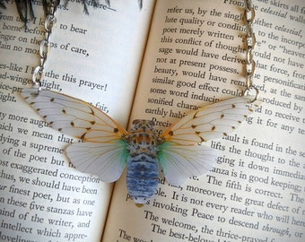 White Ghost Cicada Necklace Milky White Cicada Moth Butterfly Statement Nature Bridesmaid Gift Wedding Gift Durable Wearable Art