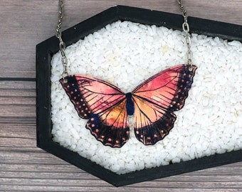 Vintage Butterfly Peach Pink Necklace Statement Nature Bridesmaid Wedding Gift Offbeat Bride Illustrated Durable Wearable Art