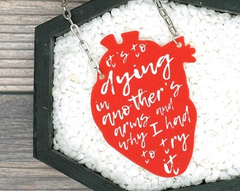 Konstantine Something Corporate Andrew McMahon Jack's Mannequin Inspired Lyric Heart Necklace Durable Wearable Art