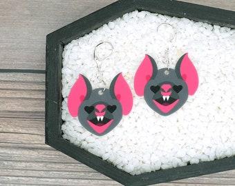 Bat Face Heart Eyes Earrings Valentine Love Dark Goth Gothic Creepy Odd Halloween Horror Durable Wearable Art