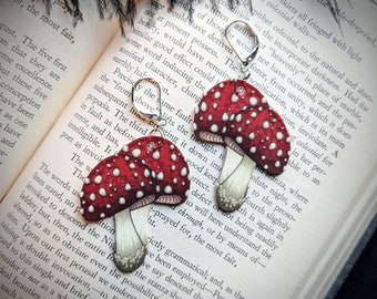 Red Mushroom Earrings Toadstool Amanita Muscaria Witch Fairy Cottagecore Dangle Clip-On Shrink Plastic Durable Wearable Art