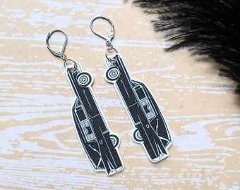 Hearse Earrings Vintage Retro Funeral Car Meat Wagon Death Cab Morbid Horror Halloween Goth Gothic Witch Durable Wearable Art Unique Gift