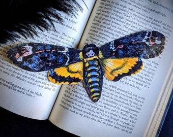 Death Head Moth Hawkmoth Bookmark Goth Gothic Halloween Horror Creepy Oddities