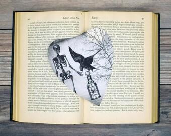 Skeleton Crow Raven Poison Bottle Planchette Bookmark Goth Gothic Halloween Horror Creepy Oddities