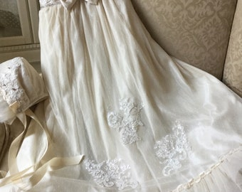 Christening gown handmade baby girl baptism dress lace