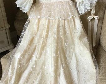 Christening gown handmade lace dress baby girl baptism dress vintage
