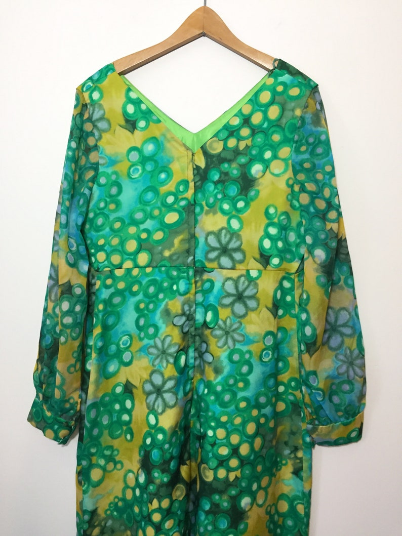 Wedding Formal Gown Vintage 60s70s Green Yellow Bridesmaid Prom Dress Melody Dress Toronto. Sheer Organza Chiffon Floral Layered Maxi
