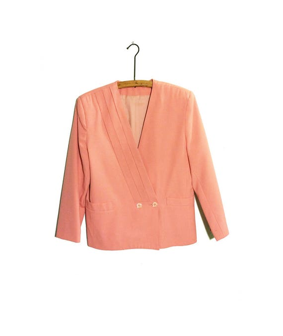 SALE** 80s PinkSalmon Blazer w Angular Diagonal Detail, Double Breasted, Shoulder Pads Made by Eloquent in Canada, Size 1112