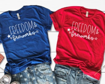 97995004 Freedom & Fireworks Graphic Tee Bella Canvas Summer Shirt Fun Shirt  Patriotic Shirt 4th of July Shirt Festive Tee