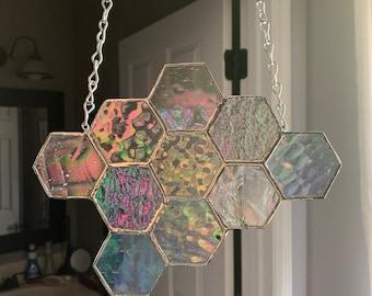 Honeycomb Suncatcher - Iridescent Clear