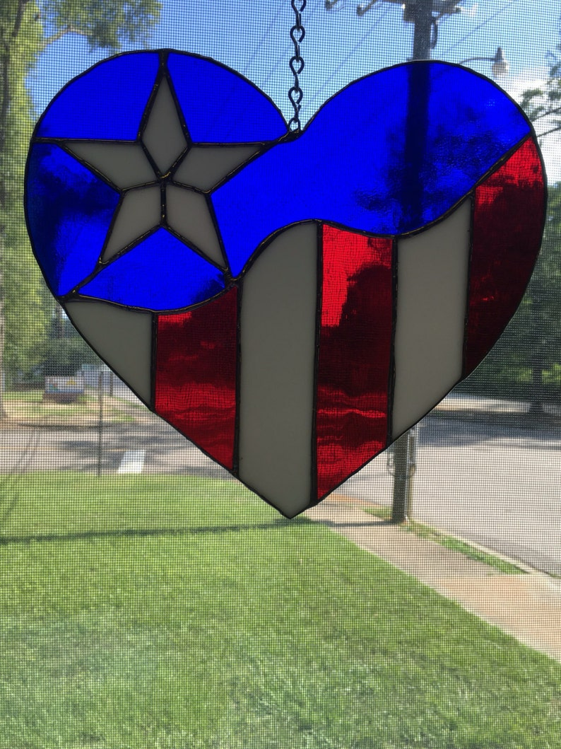 11d4fac14498 Patriotic American Flag suncatcher heart shaped