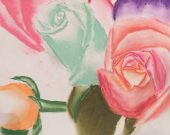 Light roses-pastel on sketch paper