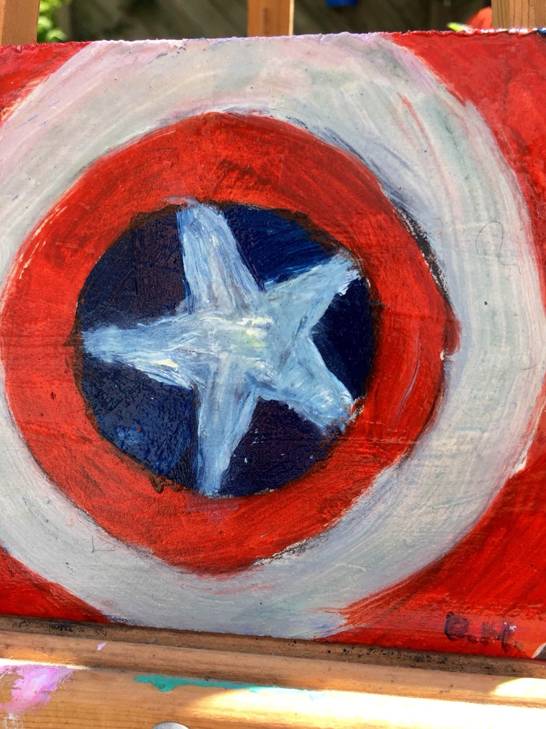 Captain America Shield Oil Paint On Wood