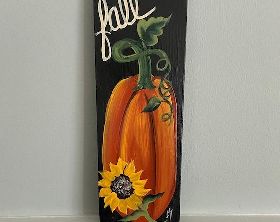 Hand painted wood pumpkin sign, Painted wood decor, Painted pumpkin wall hanging, autumn wood sign, porch decor, fall decor, pumpkin art