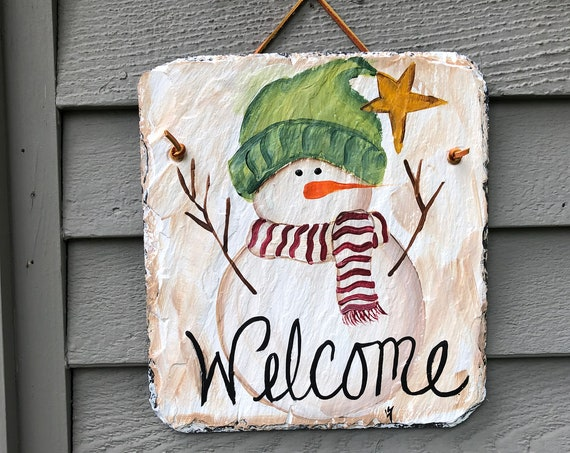 slate sign, winter slate welcome sign, snowman slate sign, winter door hanger, painted slate, welcome sign, winter welcome plaque