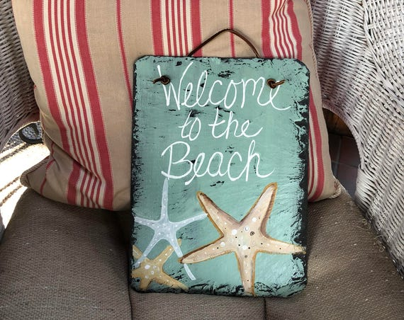 Welcome to the Beach welcome sign, Coastal Door Hanger, Seaside, Beach house decor, Coastal decor, Beach wall hanging