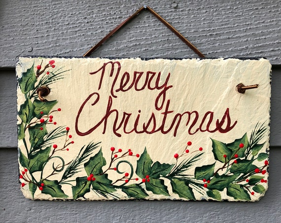 Merry Christmas door decor, Painted slate sign, Slate sign, personalized sign, Christmas sign, Christmas Door hanger, Christmas decor