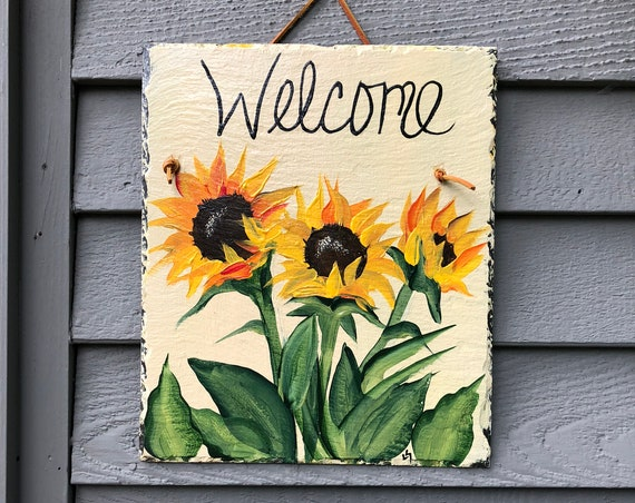 Spring porch decor, Sunflower slate welcome sign, Spring door hanger, Sunflower welcome sign, painted slate, welcome sign, spring sign