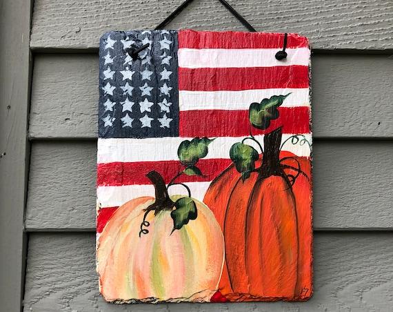 Fall painted slate, Slate Sign, Hand Painted Pumpkin slate welcome sign, Fall door hanger, Fall door decor, Autumn plaque, pumpkins