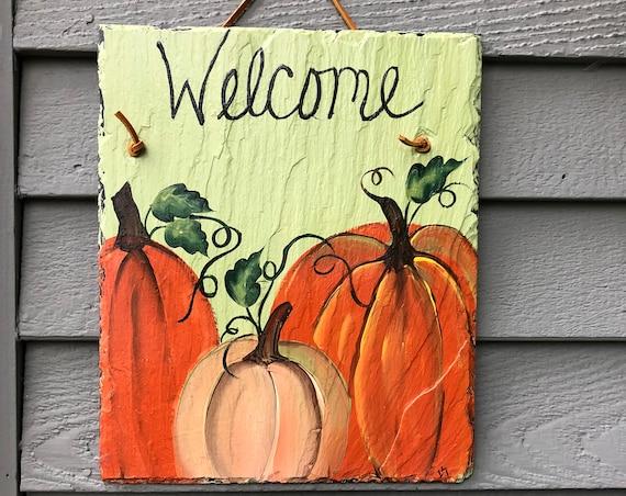 Hand Painted slate welcome sign, Fall door hanger, Fall door decoration, Sunflowers door decor, Pumpkin Slate welcome sign, Fall decor