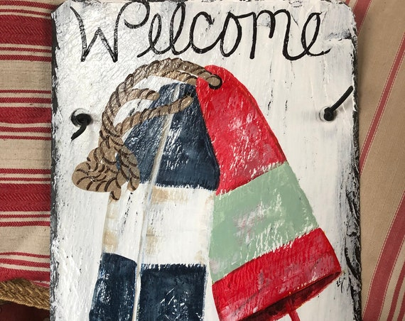 Nautical Welcome sign, Painted slate, Door Hanger, Seaside decor, Beach decor, Nautical decor, Home decor, Cottage decoration, cottage sign
