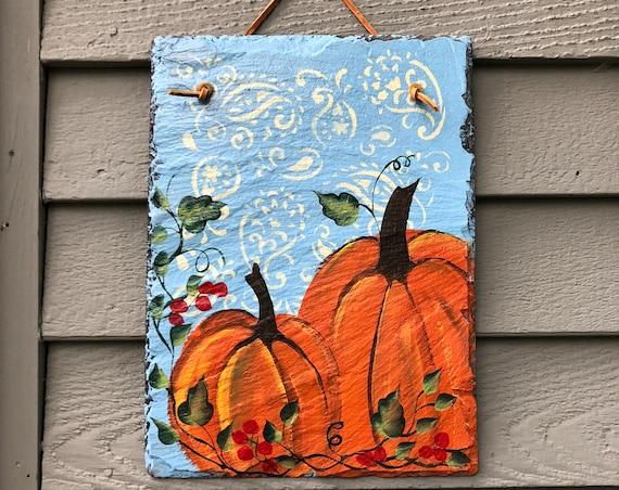 Fall door hanger, Fall door decor, Autumn door hanger, painted slate, pumpkins Slate Door hanger, Fall decorations, Autumn welcome sign