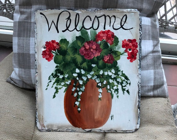 Spring door decor, Painted Slate welcome sign, Geranium Welcome Sign, welcome plaque, summer door hanger, Mother's Day gift, welcome
