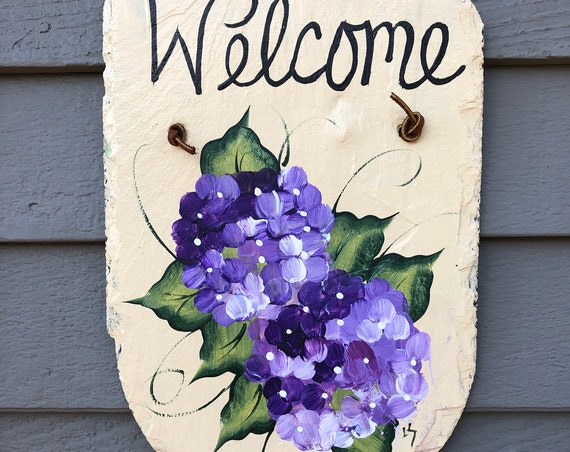 Hand Painted Slate welcome sign, Spring welcome sign, Painted slate. Slate sign, Garden sign, Porch decor, welcome plaque, painting on slate