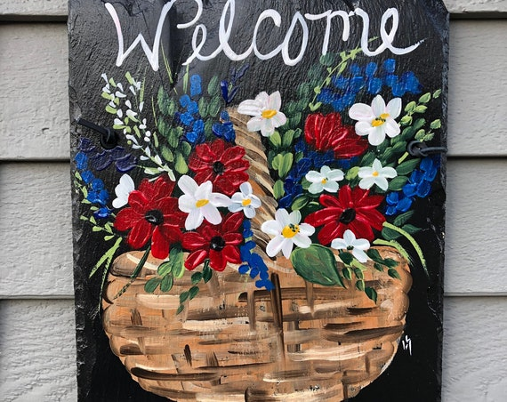 July 4th decor, Welcome sign, Spring decor, Painted Slate, Spring Door Decor, Door hanger, Fourth of July decoration, Spring welcome Sign